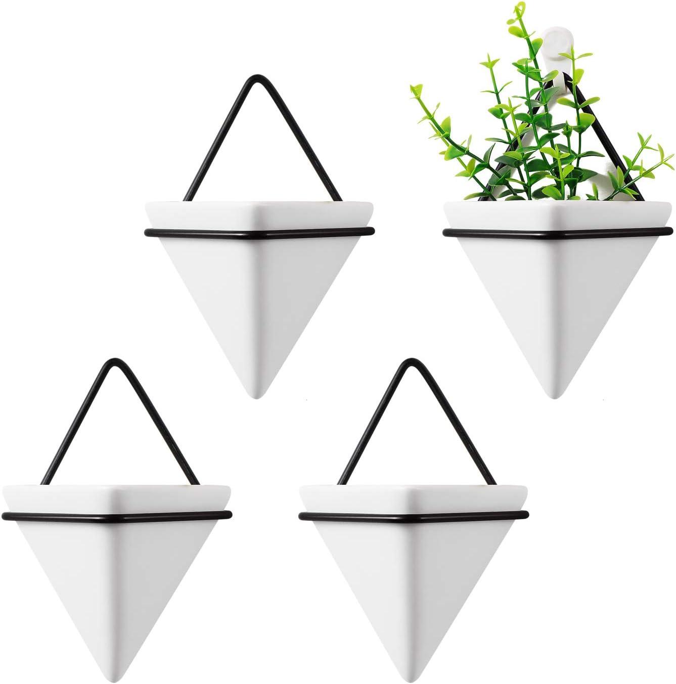 T4U Jardinera Triangular, Conjunto de 4 Jarrón de Jardinera Colgante & Maceta Geométrica Decoración de la Pared Planta de Aire Contenedor para Decoración Regalo para Cumpleaños o Boda (Pequeño)