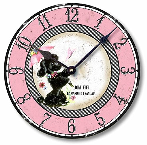 Fairy Freckles Studios Item C9006 Fifties Retro Pink Poodle 10.5 Inch Wall Clock -