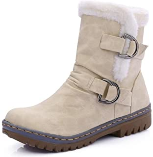 Women's Casual Buckle Low Chunky Heels Faux Suede Pull On Fleece Lined Ankle High Snow Boots