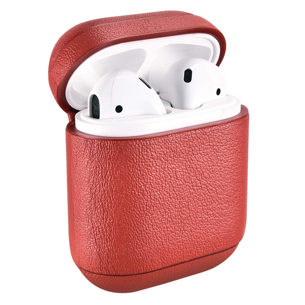 Custodia AirPods LED anteriore Non Visibile)Earphones Ricarica Case Icarer Vera Pelle Antiurto Portatile Leggero Protettiva Cover Custodia Pelle per Apple AirPods 1/&2 Nero Ricarica Wireless
