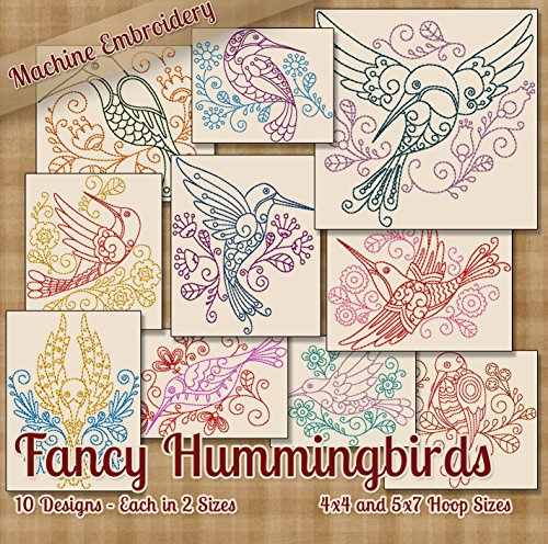 Fancy Hummingbirds Redwork Embroidery Machine Designs on CD - 10 Amazing Outline Style Patterns - 2 Sizes Each - PES JEF EXP XXX VIP HUS DST