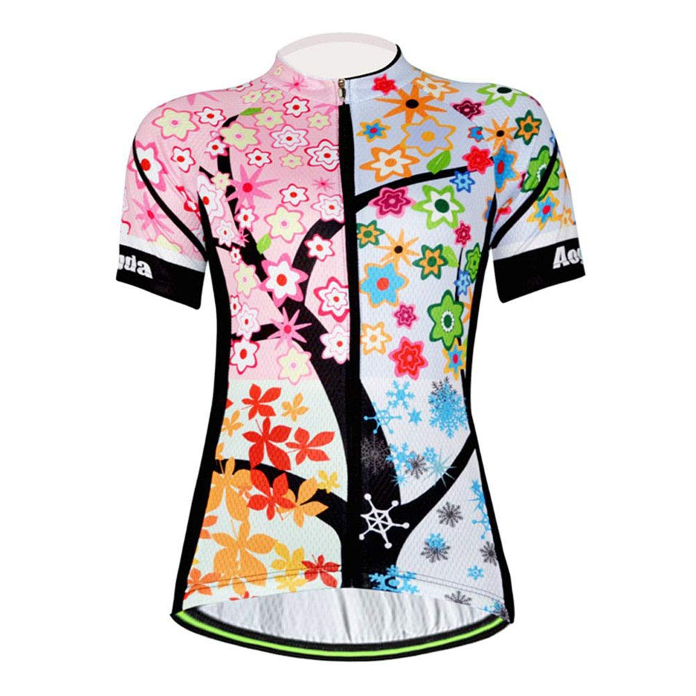Uriah Women's Cycling Jersey Polyester Short Sleeve Branch Leaves Size L by Uriah