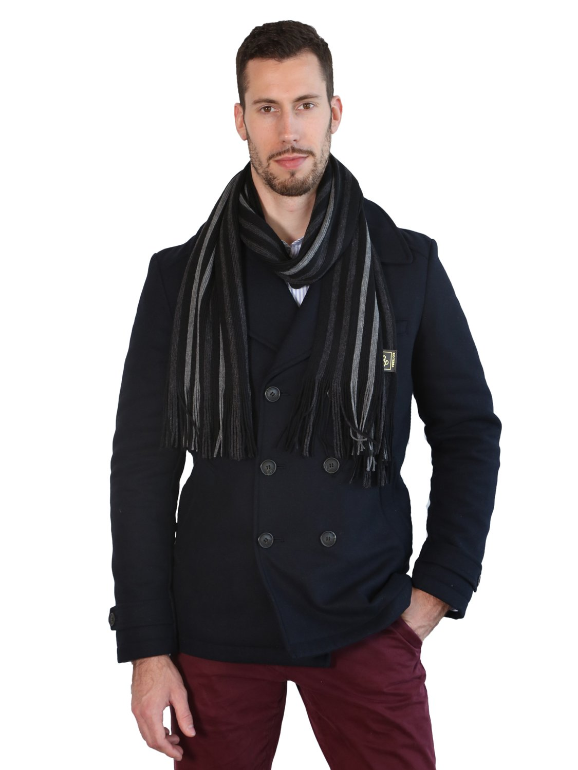 Rio Terra Men's Knitted Scarf, Designer Scarves for Winter Fall Fashion, Silver & Grey by Rio Terra (Image #7)