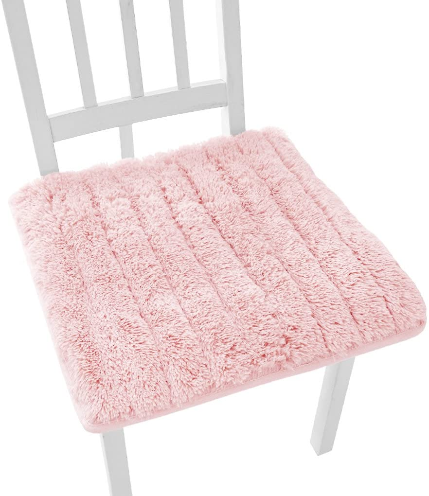 Super Soft Plush Chair Cushion with Tie Winter Warm Chair Pads Home Dining Chair Decorative Anti-skid Seat Pad Cover Cushion Mat for Office Home Kitchen Garden Dorm Cafe Bar 45x45cm