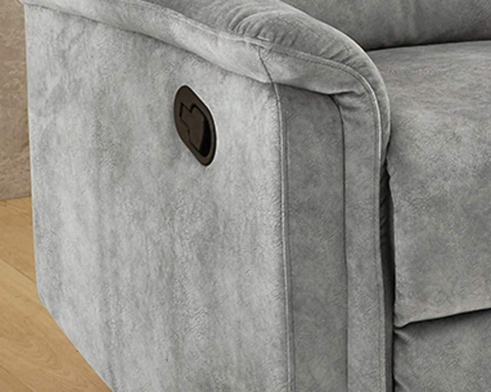 lifestyle4living Sessel in grauem Velour bezogen mit praktischer Relaxfunktion Verstellbarer Fernsehsessel zum relaxen und genie/ßen