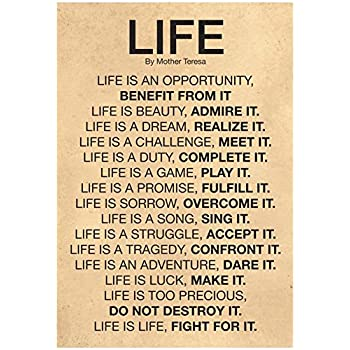 Amazon Laminated Mother Teresa Life Quote Poster 60 X 60in Stunning Life Quote Poster