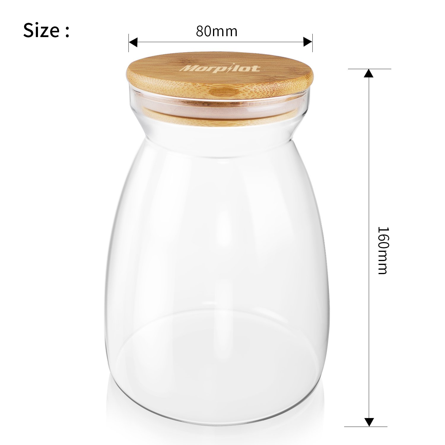Morpilot Glass Storage Jars 1100ml for Tea Coffee Sugar Biscuit Storage,Clear Glass Food Storage Jar with Silicone Seal Ring Bamboo Lid by Morpilot (Image #3)