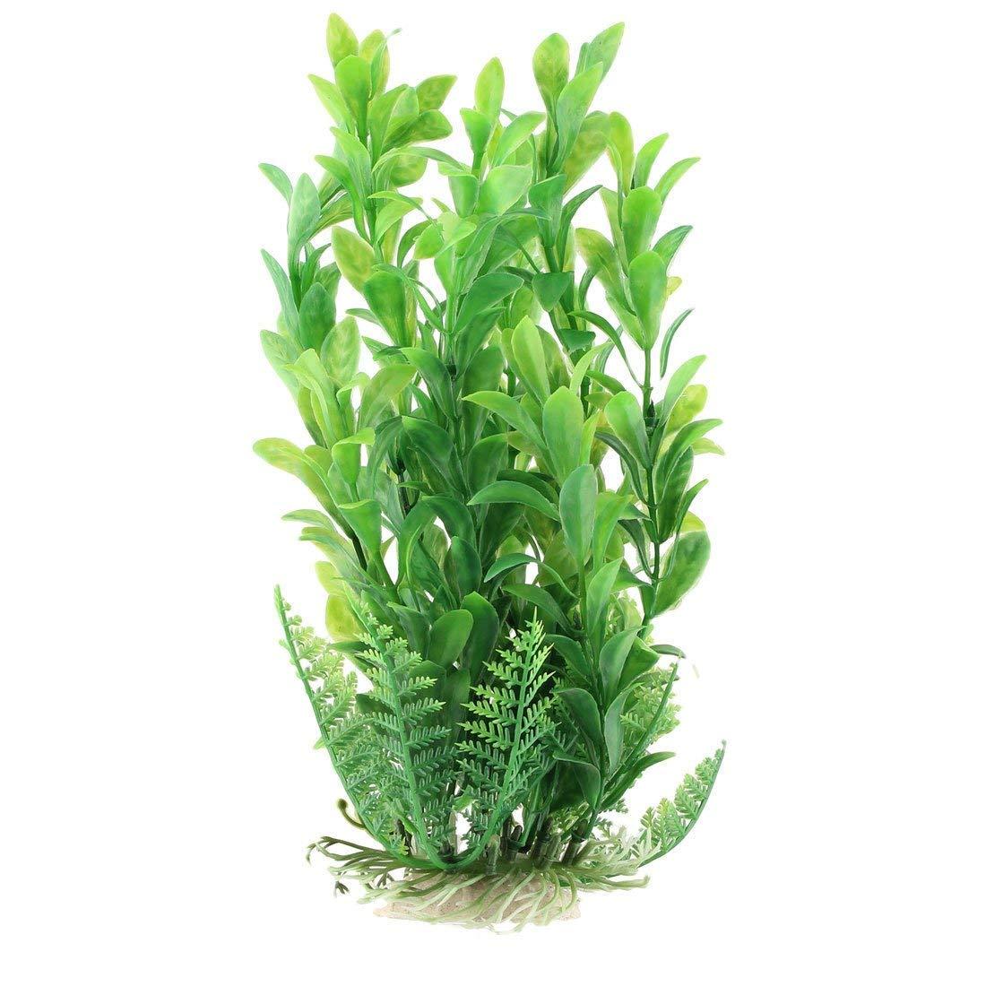 1Pc Ceramic Base Plastic Emulational Aquarium Aquatic Plant Grass Decor 8 Inch Heigth Green