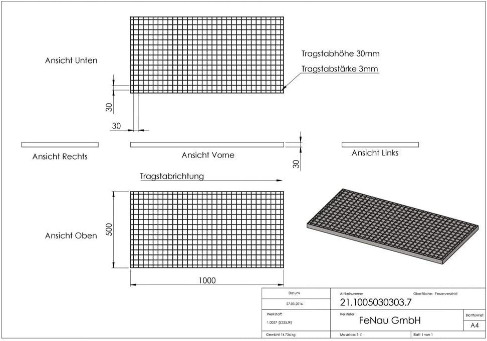 Charge sur roues : 2,29 kN//Charge superficielle m/² : 11,76 kN MW : 30//30 mm Fenau Caillebotis industriels Dimensions : 1000 x 500 x 30 mm - Epaisseur du mat/ériau : 3 mm