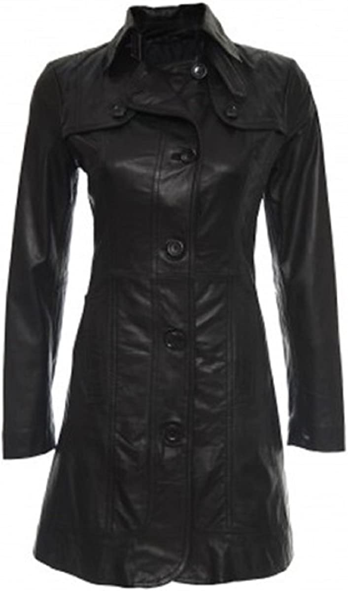 Bestzo Womens Fashion Real Leather Jacket//Coat Black