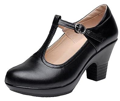 839fa938018 DADAWEN Women s T-Strap Platform Court Shoes Mid Heel Mary Jane Shoes Black  ...