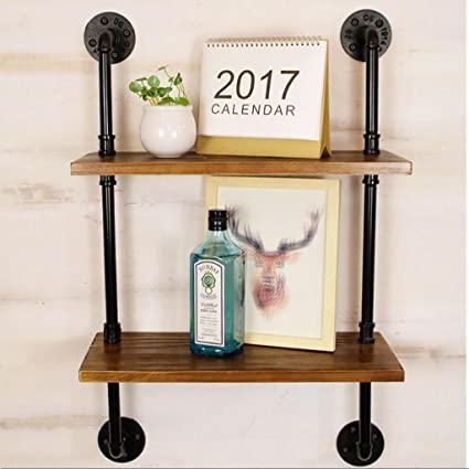 Lil Wrought Iron Vintage Shelf Industrial Wall Mounted Baffle Water Hanging Bookshelf Bookcase