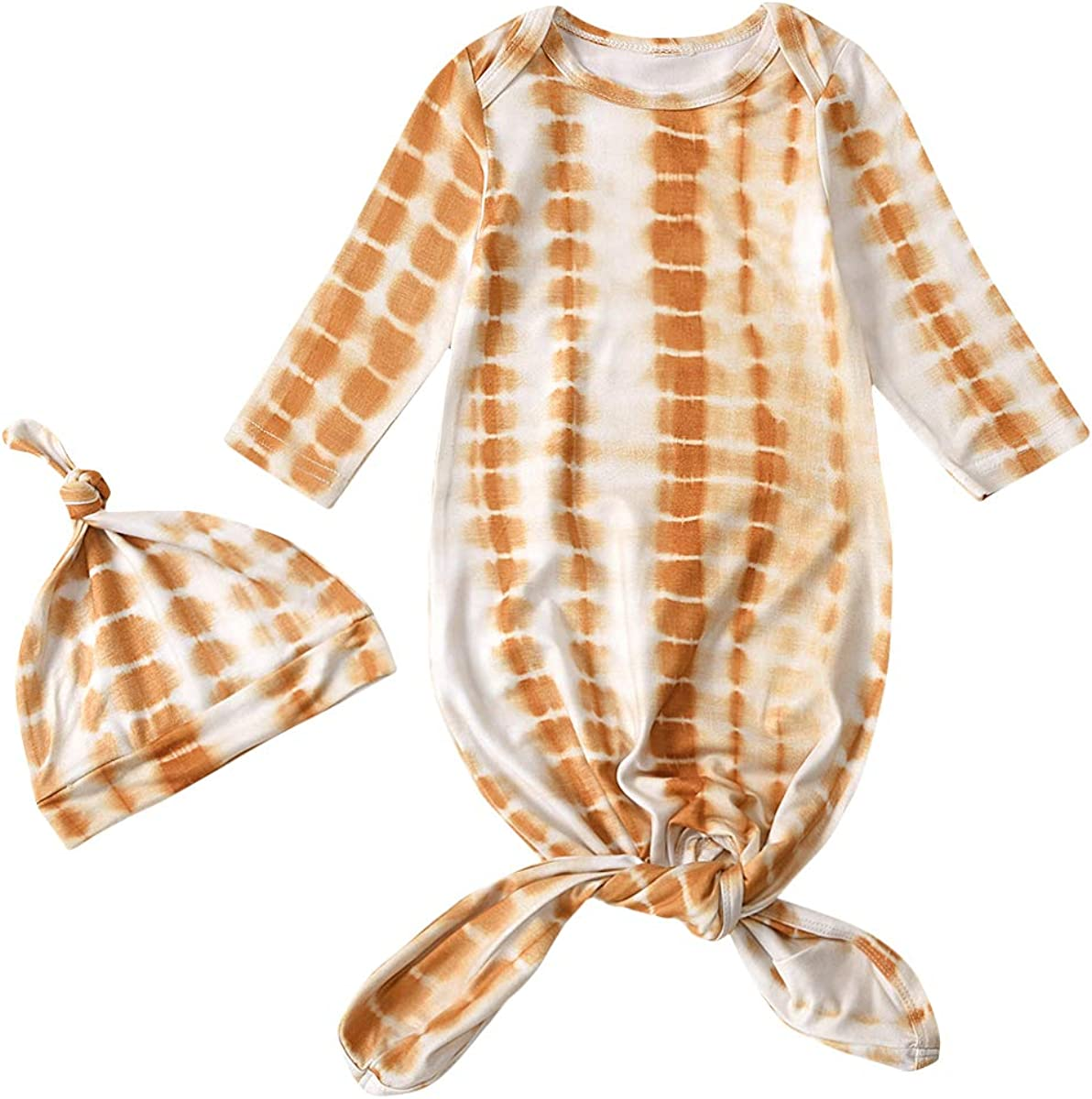 Newborn Baby Girls Boys Nightgowns Long Sleeve Sleeping Bags Pajamas With Hat Going Home Outfit Set
