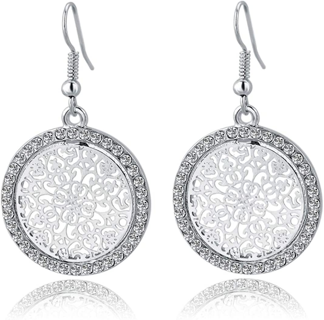 Pendientes de cristal vintage con piedra para mujer Pendientes colgantes colgantes de joyería de amor indios redondos grandes y elegantes de oro