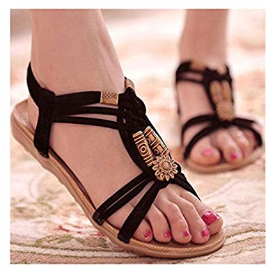 f1d2b6cc31b19 RIBITENS Women Casual Beads Flat Sandals Summer Beach Shoes Footwear Flats