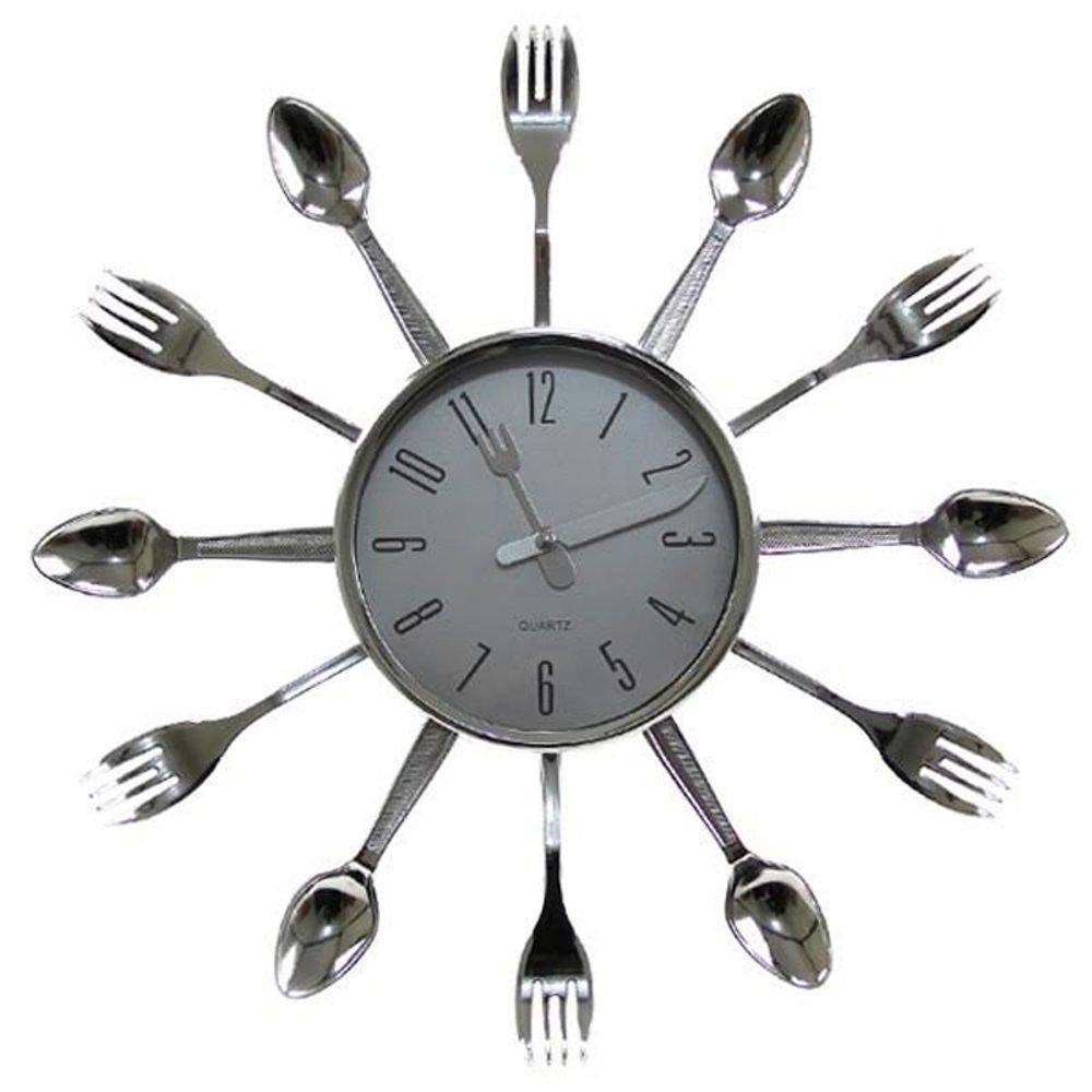 129ceaea1ec Relógio De Parede Talheres Cozinha Plástico 15x15 Cm  Amazon.com.br  Casa