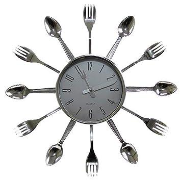 4809935cb1c Relógio De Parede Talheres Cozinha Plástico 15x15 Cm  Amazon.com.br ...