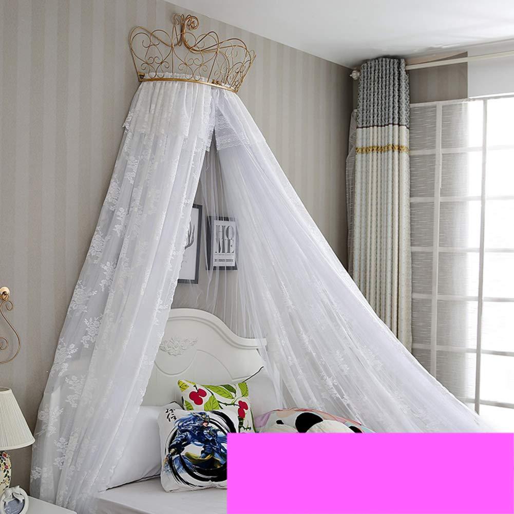 HOMEJYMADE Ciel de lit de Princesse Filles,Double Couche Couronne Polyester Rond Dentelle d/ôme Maison de Jeu Indoor Enfants b/éb/é Tente de Coin de Lecture-E 1.0m