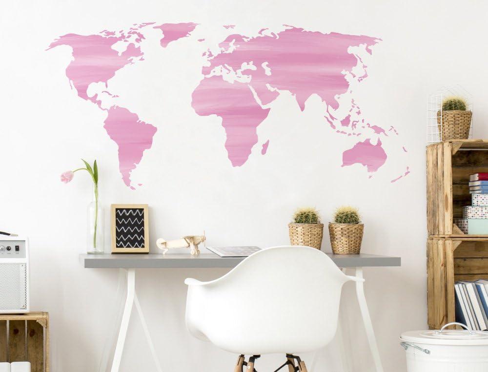 Pegatina de pared Salón Mapa del mundo Acuarela en rosa con diseño ...