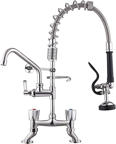 IMLEZON Commercial Faucet 21 Inches Deck Mount 4 to 8 Inches Center Adjustable Pre Rinse Spray Sink Faucet with Pull Down Sprayer and 8 Inches Swivel Spout