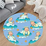 Nalahome Modern Flannel Microfiber Non-Slip Machine Washable Round Area Rug-tions Baptism Sitting Sleeping Crawling Smiling Babies On Clouds Catholic Children Party area rugs Home Decor-Round 79''