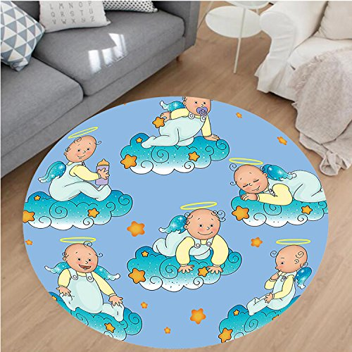 Nalahome Modern Flannel Microfiber Non-Slip Machine Washable Round Area Rug-tions Baptism Sitting Sleeping Crawling Smiling Babies On Clouds Catholic Children Party area rugs Home Decor-Round 67'' by Nalahome
