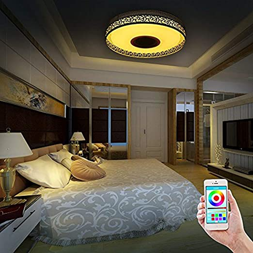 iLIfeSmart LED Lámpara Color de Techo de Interior con Altavoz Bluetooth RGB Luz de Colores Regulable APP Control el Interruptor del Temporizador