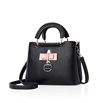NICOLE DORIS 2018 New Fashoin PU Handbag for Women Casual Tote Bag Shoulder  Bag Hardware Pendant Girls Crossbody Bag (Black)  Amazon.co.uk  Luggage 26292ab080dc2