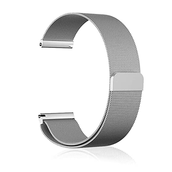 8d3b302c2373 Milanese 22mm Watch Band Strap Silve Magnetic Clasp Closure Lock Quick  Release Bracelet Men
