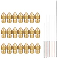 3D Printer Nozzle, 14 Pcs MK8 Brass Extruder Nozzle Print Head and 7pcs Cleaning Needles for 1.75mm Makerbot Creality CR-10 ANET A8 CR-10 M6 3D Printer (0.2/0.3/0.4/0.5/0.6/0.8/1.0mm)