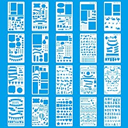 MORSLER 20 Piece Journal Stencil Plastic Planner Stencils DIY Drawing Template for Journal/Notebook/Diary/Scrapbook. 4x7 inches