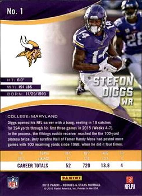 Stefon Diggs #1 2016 Panini rookies /& Stars
