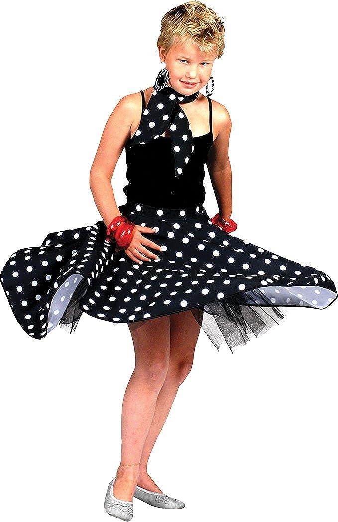 Disfraz rocknroll de lunares para niña con pañuelo para el ...