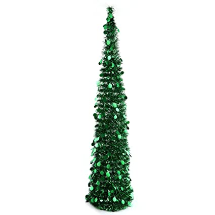 PartyTalk 5ft Pop Up Christmas Tree with Stand, Green Tinsel Collapsible  Artificial Christmas Tree for - Amazon.com: PartyTalk 5ft Pop Up Christmas Tree With Stand, Green
