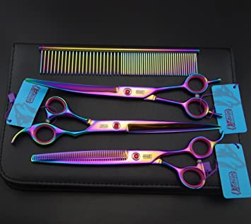 8 0in Rainbow Professional Pet Grooming Scissors Set Straight