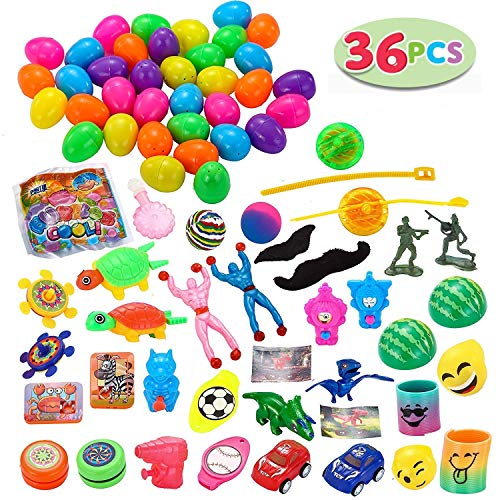 JOYIN 36 Toys Filled Easter Eggs, 2.25 Inches Bright Colorful Prefilled Plastic Easter Eggs with 18 Kinds Popular Toys]()