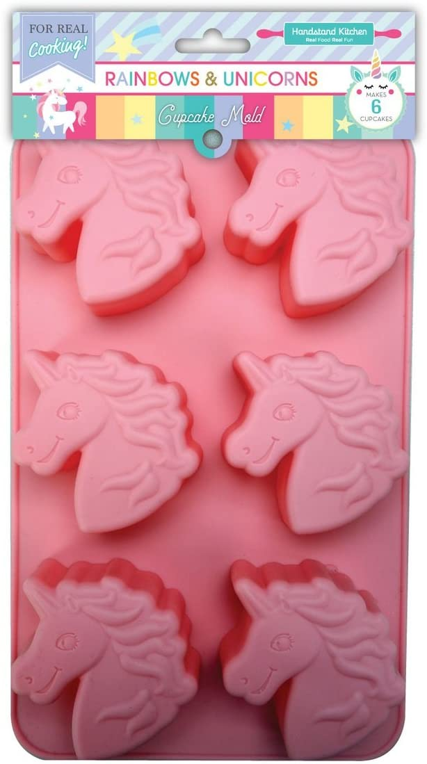 Handstand Kitchen Rainbows and Unicorns Silicone Unicorn Shaped Cupcake Mold
