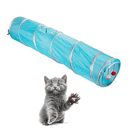 Túnel para Gatos, Morbuy 1 Vías Túneles Extensible Plegable Gato Jugar Túnel Casa del Laberinto del Juguete con Pompón y Campanas para Gato Gatito Cachorro ...