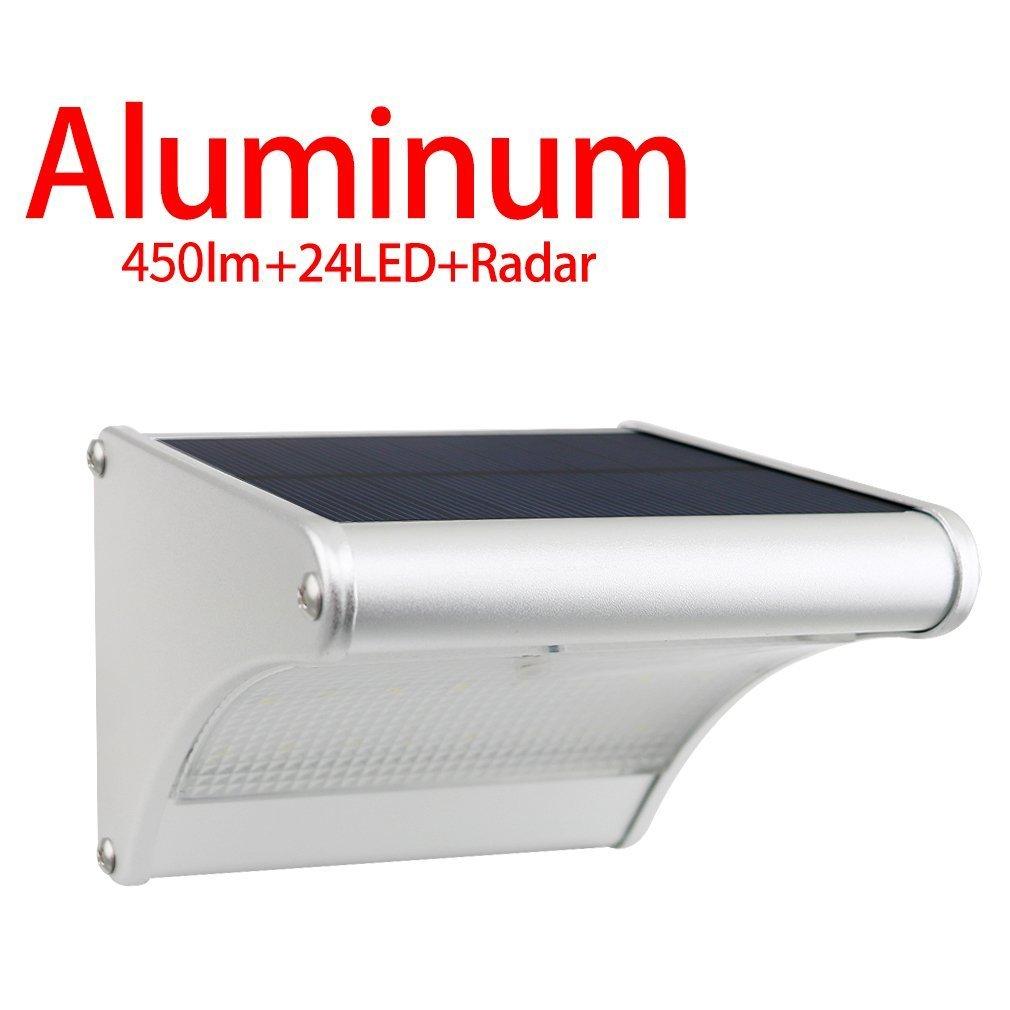 Licwshi 450 Lumens Solarleuchten 24 LED mit Aluminiumlegierungsgehäuse, Wasserdichtkeit im Freien, Radar-Bewegungsinduktion, es ist geeignet für Laubengang, Garten, Hof, Garage(2018 Version 1 Packung) [Energieklasse A+++] Licwshi SL02