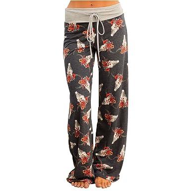 Femme Pantalon Bouffant Large avec Cordon Baggy Hip Hop Sarouel Jambes  Pantalon Palazzo Leggings Bohemien Hippie Chic Imprimé Fleuri Sweatpants  pour Yoga ... 3160a3f94d7