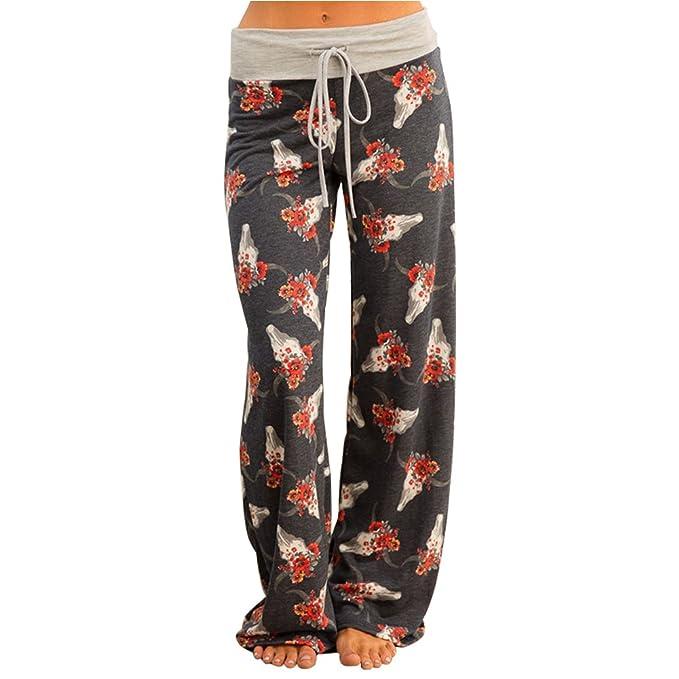 Pantaloni Dritti Donna con Coulisse Vita Alta Baggy Hip Hop Harem Danza  Trousers Stampa Floreale Leggins 489696bfc4d4