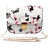 Sale Clearance Sunday77 Women's Fashion Butterfly Flower Printed Handbag Shoulder Bag Ladies Zipper Tote Bag Casual Classic Vintage PU Leather Messenger Bag for Women