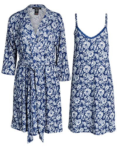 'Rene Rofe Womens Lightweight Soft-Stretch Hacci Knit Robe and Chemise Nightgown Set (Blue Florals, Medium)'