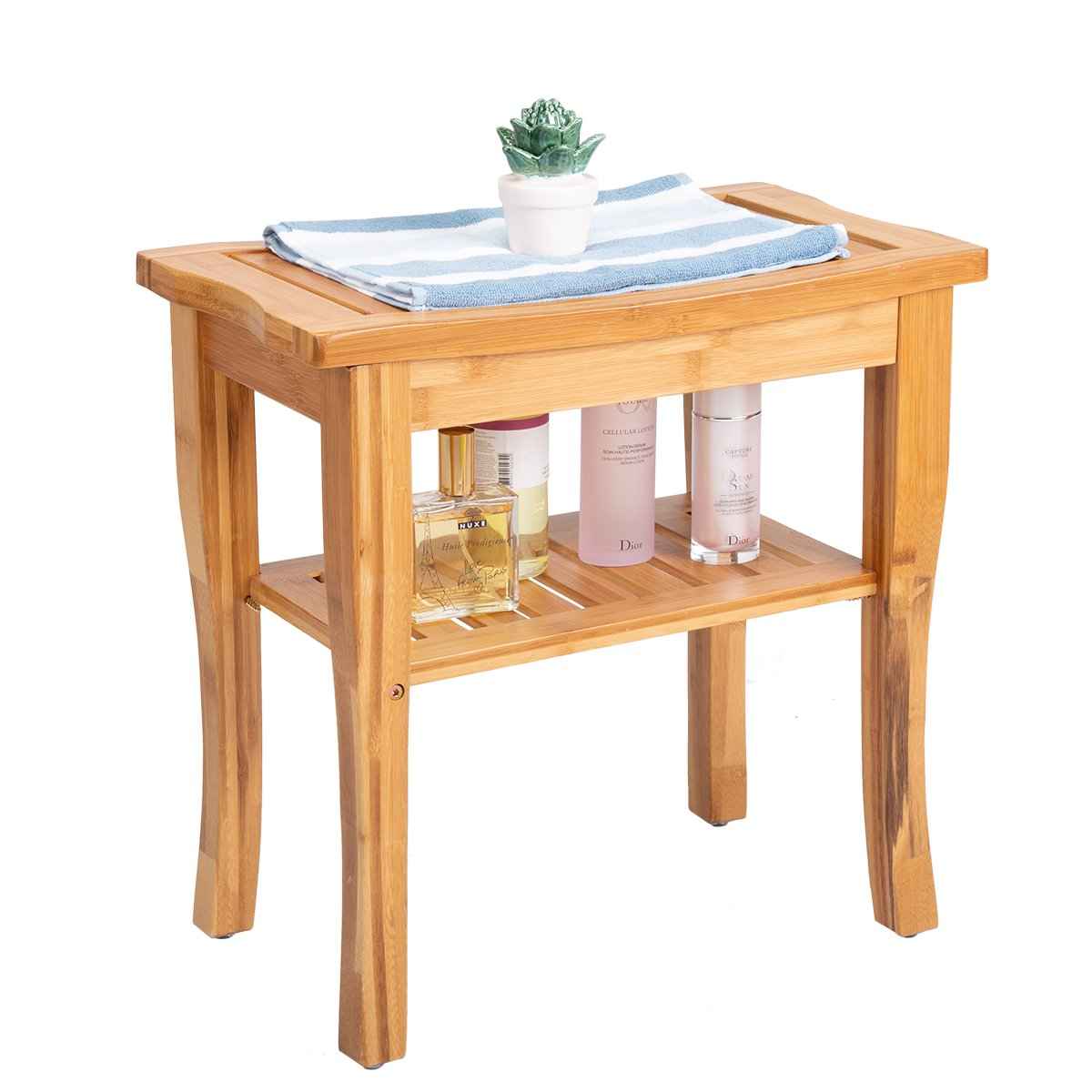 Frond Bamboo Shower Bench Seat, Bathroom Spa Bath Cornor Stool with 2 Tier Storage Shelf - 100% Natural Bamboo Perfect for Indoor or Outdoor