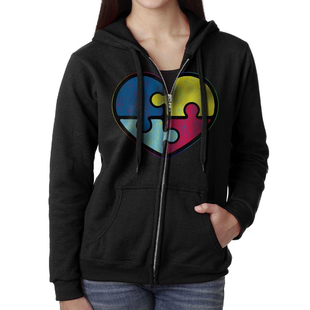 Perky Vintage Autism Awareness Women's Active Comfy Full-Zip Hooded Sweatshirt M