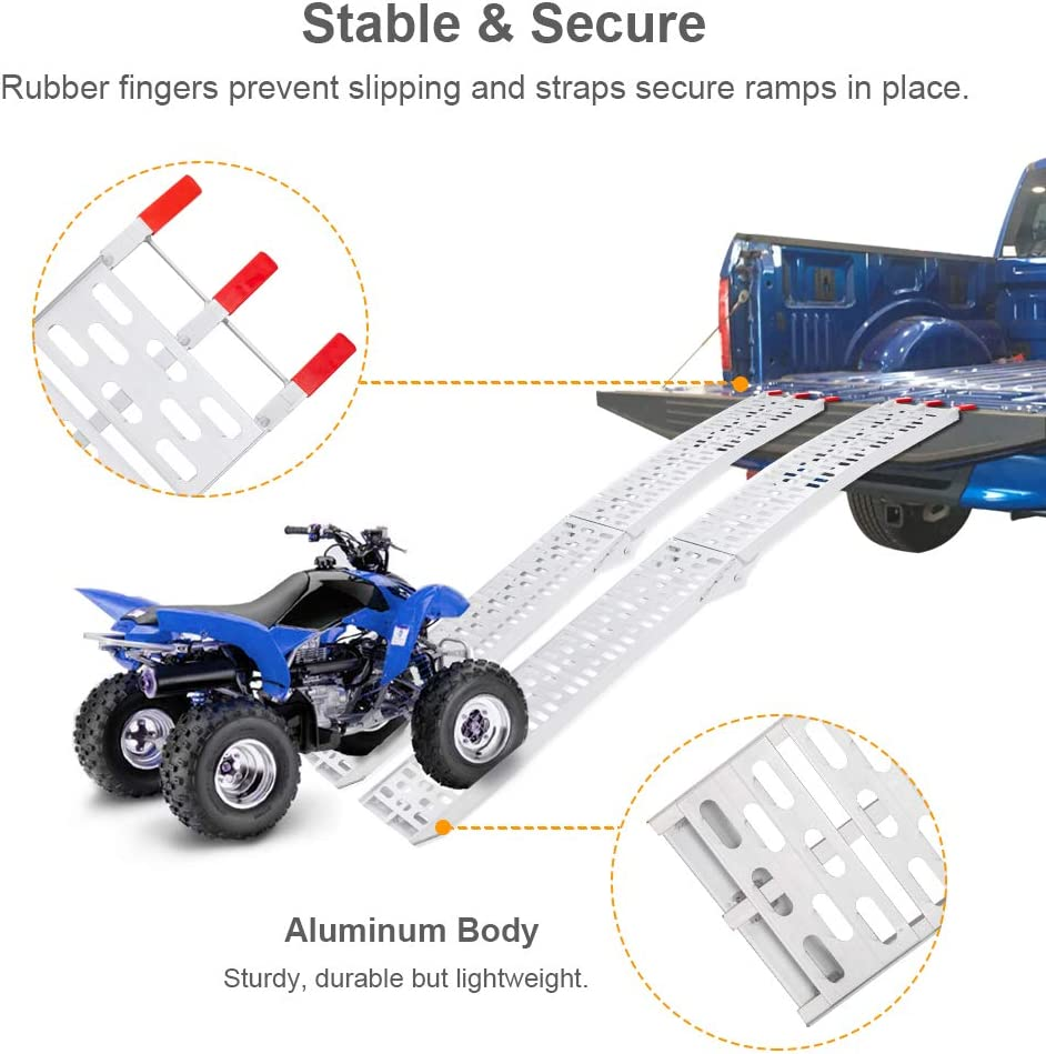 1500 lbs Set of 2 pcs Folding /& Heavy Duty for ATV//UTV//Motorcycle//Lawn Mower TUFFIOM 7ft Aluminum Truck Ramps