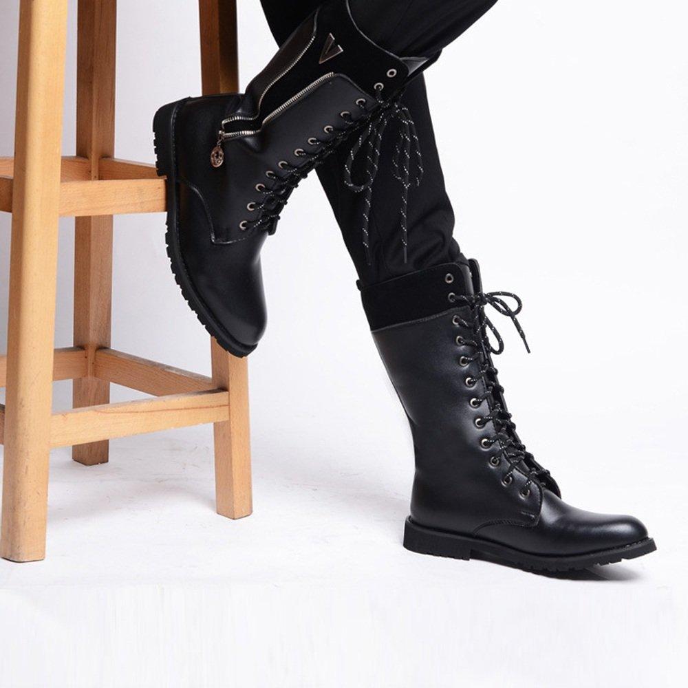Shengjuanfeng Herren Herren Herren Schuhe Seitlicher Reißverschluss Lace Up Leder Oberen Mitte Kalb Kampf Martin Stiefel für Herren (Farbe   Fleece Inside schwarz, Größe   6.5 UK) 07b628