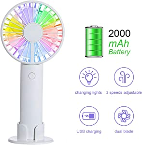 Handheld Fan, Dual Blade Mini USB Desk Fan Personal Table Fan Battery Operated, 3 Speed Cooling Electric Fan with Color Light, 8-12 Hours Working Time/2000mAh Battery for Travel Office Outdoor/Indoor
