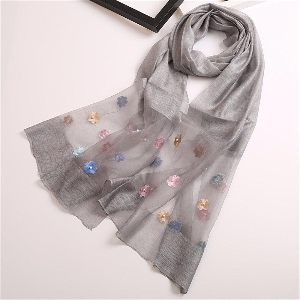 DIDIDD Bufanda-en la primavera y el otoño período bufandas bordadas de seda señoras súper largas bufandas decorativas protección solar cálido y de doble uso,B