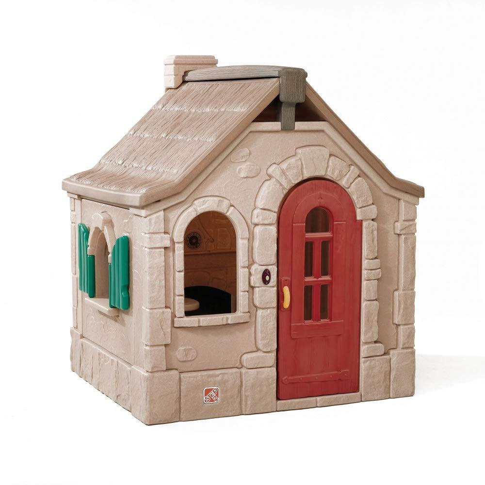 Beauty.Scouts Kinderspielhaus Linus aus Kunststoff 128,3x139,7x163,2cm braun Spielhaus Gartenhaus Kinder Spiel Haus Outdoor Klingel Postfach Küche